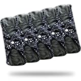 Heart Felt Bamboo Reusable Sanitary Pads Blue Lace Print X 5 with Charcoal Absorbency Layer. The Smartest New Way to Avoid Leaks, Odors and Staining. Save Hundreds of Dollars and Massive Amounts of Landfill Waste with Washable Incontinence Pads. Pretty Pattern, Secure Snap to Stay in Place and Total Peace of Mind with These Top Quality Reusable, Washable Menstrual Cloth Pads by Heart Felt