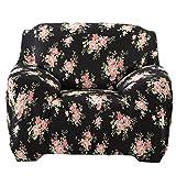 Elastisch Stretch Sofabezüge Für Einzel / 3-Sitzer Couch - Black Rose , 90--140cm