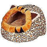 Haustier Hund Katze Bett-Haus-Matten Kennel Doggy Warm Kissen Korb- Leopard S