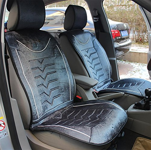 Deluxe-beheizbare Auto-sitz-kissen (VIGGO Auto Sitzbezüge, Deluxe Velour Beheizte Sitzkissen, Gray)