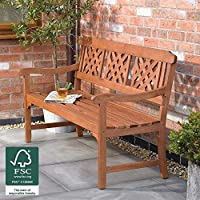 Wido 3 Seater Fence Garden Bench with Diagonal Slotted Back Design
