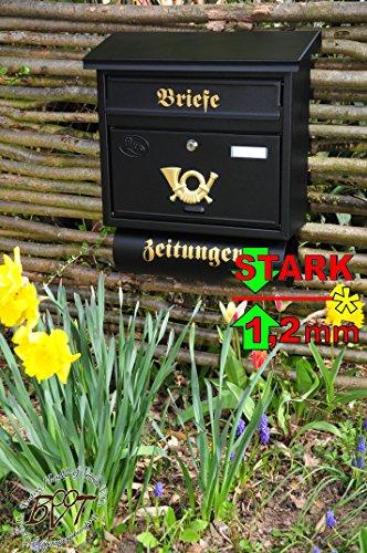 Preisvergleich Produktbild Briefkasten XXL, verzinkt mit Rostschutz F/aP groß in tiefschwarz anthrazit dunkel Zeitungsfach Zeitungen Post antik Mailbox Schild