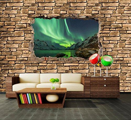 dalinda Premium Vliestapete 3D Optik - Aurora Borealis Tromsö - Steinmauer Fototapete DA00000675 XXL 400 x 280 cm - 8 Teile - Vlies Vliestapete XXL