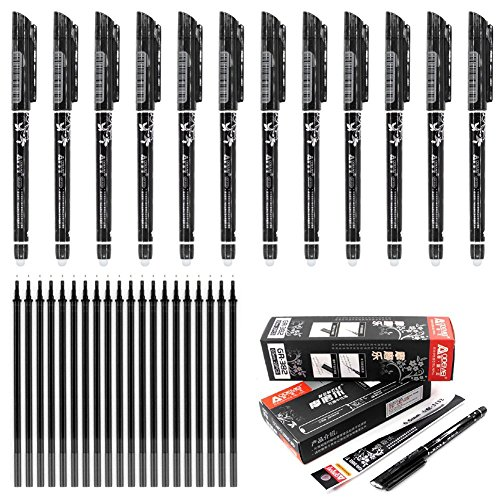 Laconile penne cancellabili con punta a pennino da 0,5 mm, 12 pezzi penne con nero confezione da 20 ricariche per penne in gel, scrittura scorrevole, cancelleria per la scuola