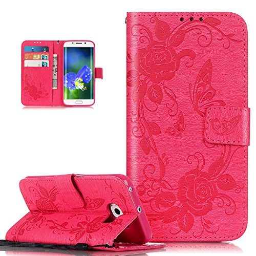 Coque Galaxy S6 Edge,Etui Galaxy S6 Edge, ikasus® Coque Galaxy S6 Edge Bookstyle Étui Housse en Cuir Case, Motif Gaufrage Papillon Rose Fleur Etui Housse Cuir PU Portefeuille Folio Flip Case Cover Wallet Coque Protection Étui avec Flex Soft Silicone TPU et Fonction Support Fermeture Aimantée Carte de crédit Logement Poches Case Coque Housse Étui pour Samsung Galaxy S6 Edge - Rose vif