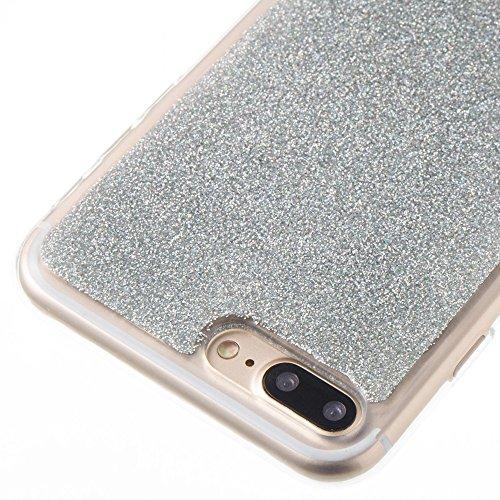 Hülle für iPhone 7 plus , Schutzhülle Für IPhone 7 Plus, Soft Flexible Silikon TPU Gel Glänzender Glitter 360 ° Full Coverage Case ,hülle für iPhone 7 plus , case for iphone 7 plus ( Color : Red ) Silver