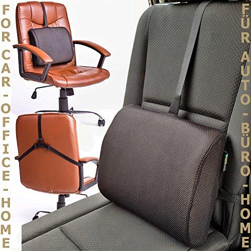 BackCares Memory Foam Rückenkissen - das beste Lendenwirbel-Stützkissen für Zuhause, Büro, Auto - hypoallergener Bezug verstellbare Bänder Lendenwirbelkissen zur ergonomischen Ausrichtung der Wirbelsäule & Lindern von Rückenschmerzen (Lordosenstütze Kissen)