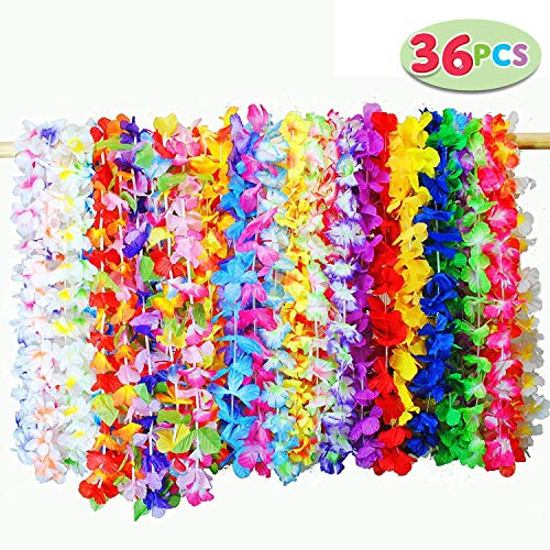 JOYIN Toy 36 Stücke Hawaii Blumenketten Hawaiikette Halskette Tropischen Hawaiianischen Luau Blumen Lei für Kleid, Party Favors, Strand und Themenbezogenen Geburtstage, (3 Dutzend)