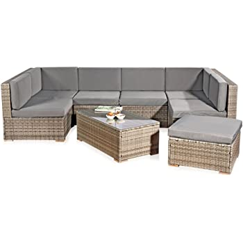 Rattan lounge grau  Amazon.de: Melko® XXL Gartenset, Poly Rattan, Lounge Sofa-Garnitur ...