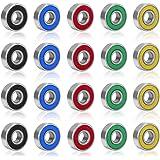 Rybtd 20 STUKS Skateboardlagers kleurenminiatuur, Dubbel afgeschermde lagers ABEC-9 608 2RS Skateboard Lager voor Lange Skate