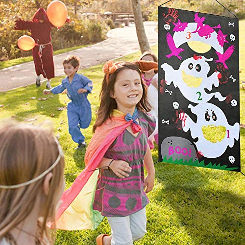 Halloween Ghost Toss-Spiele mit 3 Sitzsäcken, lustiges Halloween Ghost-Spiel für Kinder und Erwachsene bei Halloween Ghost Party-Aktivitäten, großartige Halloween Ghost-Dekorationen