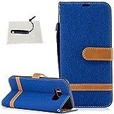 Samsung Galaxy S8 Plus Leder Case,TOCASO Glitter Pink PU Schutzhülle für Samsung Galaxy S8 Plus Hülle Leder Tasche Flip Case Wallet Case Tasche Leder tasche Handyhülle Shell Schale Pen-Denim Blau