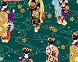 COSMO Tela de satén japonesa para mujer (0,5 m, 50 cm x 150 cm), diseño de Maiko