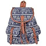 Guran® Damen Mädchen Trekking Rucksäcke Reisetasche/ Kinder rucksack - Weiß Elefant Blau Diamant Leinwand