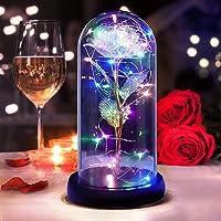 DASIAUTOEM Rosa Bella e La Bestia, Rosa Eterna Romantica Rosa Decorazione Rose Incantate in Cupola di Vetro con Luce a…