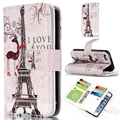 iPhone 6S Plus Coque, iPhone 6 Plus Coque, Lifeturt [ Pivoine ] Leather Case Wallet Flip Protective Cover Protector, Etui de Protection PU Cuir Portefeuille Coque Housse Case Cover Coquille Couverture E02-Cerf Tour