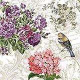"""""""encantador jardín–Pack de 20servilletas de papel–33x 33cm–3capas–floral collage"""