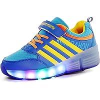 Scarpe con Rotelle Bambina LED Luci Luminosi Pattini a Rotelle Bambino Lampeggiante Formatori Scarpe con Ruote All…