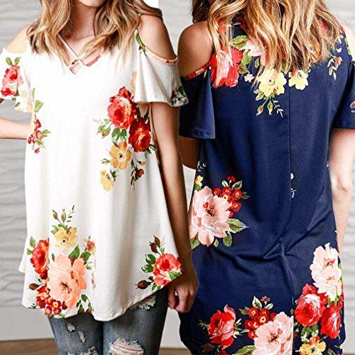 Honghu Damen Sommer V-Ausschnitt Schulterfrei Blumen-Drucken T-shirt Blau