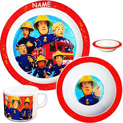 Unbekannt 3 TLG. Geschirrset -  Feuerwehrmann Sam Jones  - inkl. Name - aus Melamin - BPA frei /...