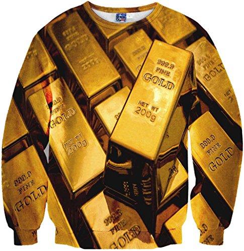 Pizoff Unisex Hip Hop Sweatshirts mit 3D Digital Print 3D Muster Gold barren BRIC Y1759-G1-L