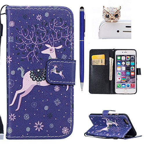 iPhone 6S Plus Hülle,iPhone 6 Plus Case,iPhone 6S Plus Cover - Felfy PU Ledertasche Strap Flip Standfunktion Magnetverschluss Luxe Bookstyle Ledertasche Nette Retro Mode Painted Muster Abdeckung Schut Lanyard Schnee-Rotwild