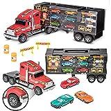 Prextex 61cm abnehmbarer Laster, Spielzeugauto, Autotransporter mit Gummireifen und 6 Spielzeugautos für Jungen und Mädchen