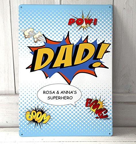 Artylicious Persönlicher Comic Dad Fathers Day Geschenk A4Metall Wand Kunst, Schild (Comic-buch-wand-kunst Vintage)