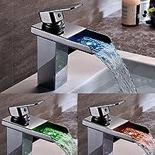 Homelody Robinet Mitigeur Cascade Mono Trou Tiroir Carré LED Tricolore en Laiton Durable pour Salle de bains Lavabo Vasque