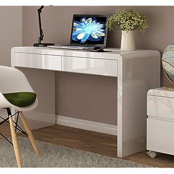 Kleiner Wei Er Schreibtisch , Weißer Hochglanz Schreibtisch 2 Schubladen Amazon