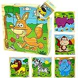 PROW® 16 pezzi Puzzle di blocchi di cubo in legno Elefante, scimmia, Leone, ippopotamo, zebra, Fox 6 immagini puzzle per 3 anni e oltre bambini perfetto regalo di Natale