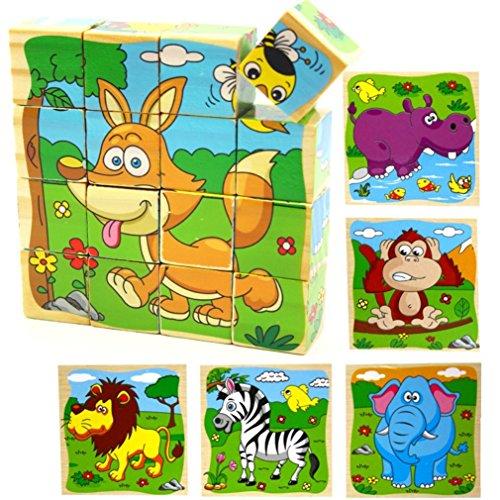 PROW® Bloques de Cubo de Madera de 16 Piezas Rompecabezas, Elefante, Mono, león, hipopótamo, Cebra, Fox 6 imágenes Puzzle de 3 años niños