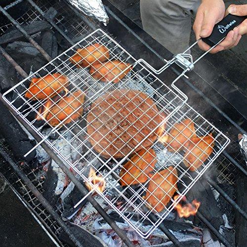 WolfWise Grillkorb Fischbräter, Grill Fischhalter Gemüsekorb Burger Grillwender, mit Abziehbarem Holzgriff & Backpinsel, 430 Edelstahl