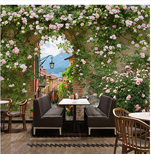 Finloveg Blumen Retro Pastoralen Stil Rose Hintergrund Tapete Milch Tee Konditorei Cafe Restaurant Romantisches Dekor 3D Wandbild-250X175Cm
