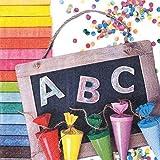 20 Servietten Schulanfang ABC Einschulung First School Day farbenfroh Einschulung Schule Schultüten 33x33cm