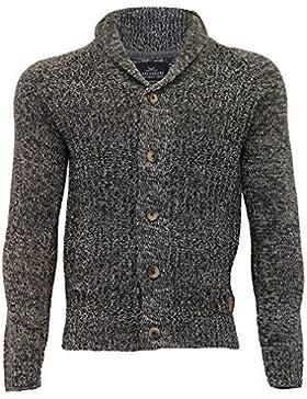 Uomo Misto Lana Cardigan Threadbare maglione lavorato a maglia Chunky SCIALLE COLLO INVERNO NUOVO