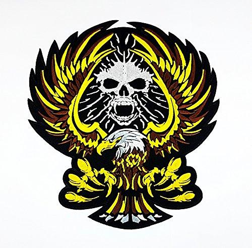 rabana XXL Skull Eagle Gold Rückseite Patch Sew Iron on gesticktes Badge Schild Kostüm