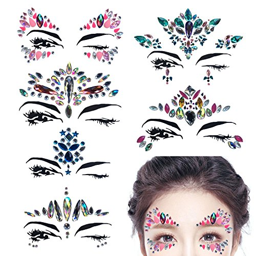 ABREOME 6 Stück Strass Juwelen Face Tattoo Face Sticker Metallic Shiny Temporary Tattoo für Glitzer Effekt, Parties, Shows und - Tattoos Juwelen