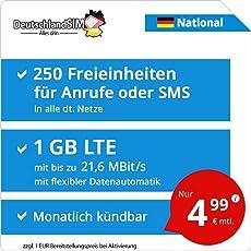 DeutschlandSIM LTE 750 National [SIM, Micro-SIM und Nano-SIM] monatlich kündbar (4,99 Euro/Monat, 1 GB LTE mit max. 21,6 MBit/s mit flexibler Datenautomatik, 250 Freieinheiten für Anrufe oder SMS)