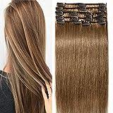 Clip In Extensions Echthaar 100% Remy DOUBLE DRAWN Haarverlängerung 8 Tressen Dick zum Ende Glatt 30cm - 75g - Hellbraun #06