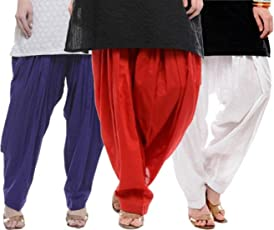 I Shop Traditional Patiala Salwar 100% Cotton Free Size COMBO-02(BLUE_RED)