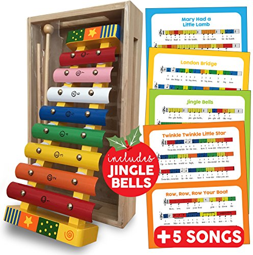 Bee Smart Xylophone Glockenspiel Musical Instrument - Wooden Toys Percussion Musical Instrument Gift for Toddlers with FREE SONG SHEETS, WOODEN STORAGE BOX and TWO WOODEN MALLETS - Baby Musical Instruments Educational Percussion Sound Toy Gift