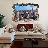 murando - 3D WANDILLUSION 140x100 cm Wandbild - Fototapete - Poster XXL - Loch 3D - Vlies Leinwand - Panorama Bilder - Dekoration - New York City Stadt Panorama d-B-0124-t-a