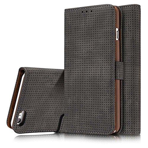 Preisvergleich Produktbild iPhone 7 Hülle, Dfly Handyhülle iPhone 7 Schutzhülle Tasche mit Kartenfach Aufstellfunktion Magnetverschluss mit Breath Funktion, Dunkelgrau