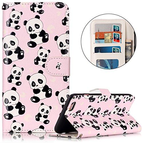 Cover iPhone 6 Plus Pelle, Custodia iPhone 6S Plus PU, Surakey Portafoglio Cover Custodia per Apple iPhone 6 Plus / 6S Plus, Fiore Orso Panda Gufo Lupo Modello Design Magnetico Snap-on Protettiva Bump Panda