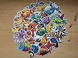 SBS Lot von 40 Aufkleber, Stickers Fisch, Meerestiere, Kinderschmuck, Zimmer, Ozean, Meeresboden, Sticker Fische