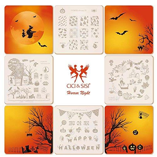 Stanzplatten Kit Feiertag Halloween Stempel Platte Maniküre Schablone 4 Stücke (Cici Und Sisi Halloween)