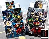 Lego Ninjago Kinder-Bettwäsche Movie Battle - 135x200 cm + 80x80 cm - 100% Baumwolle Linon - Cole - Jay - Kai - Lloyd - Zane - Nya - Misako - Sensai Wu - Renforcé - deutsche Größe - Wende-Motiv