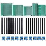 PCB Board, Hakkin, 35 Stücke Doppelseitige Prototyp Boards Kit 2x8cm, 3x7cm, 4x6cm, 5x7cm, 6x8cm Prototype Kit für DIY Projekte