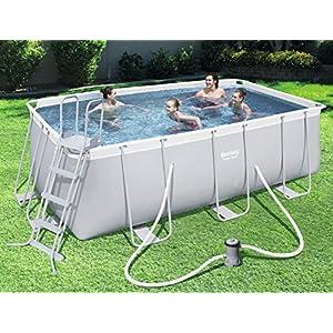 Bestway Power Steel Rectangular Pool Set 412x 201x 122cm Telaio in Acciaio Pool Set con Pompa Filtro e Accessori